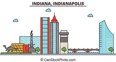 Indiana, Indianapolis.Stadt Skyline: Architektur, Gebäude, Straßen, Silhouette, Landschaft, Panorama, Wahrzeichen, Ikonen. Bearbeitende Striche. Flat Designlinie Vektorgrafik Konzept.