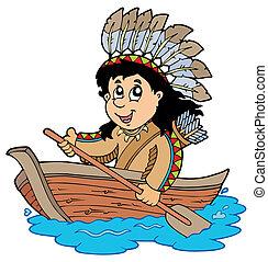 Indianer im Holzboot