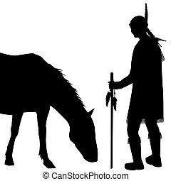 indianer, silhouette, pferd