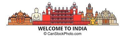 Indien skizziert Skyline, indische flache dünne Linien Icons, Wahrzeichen, Illustrationen. Indien Cityscape, indische Reisestadt-Vektorbanner. Urban Silhouette