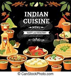 Indische Küche, schwarzes Tafelplakat.