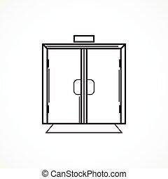 Indoors Glastür schwarze Linie Vektor Icon.