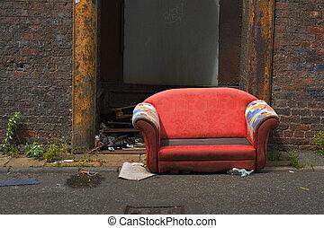 industrie, altes , verlassen, gasse, couch, weg