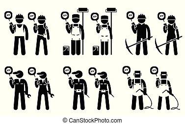 Industrie, Bau, Bauarbeiter und Bergarbeiter, die mobile App für ihre Arbeitsplätze verwenden.