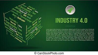 industrie- farbe, grün, wolke, hintergrund, 3d, 4.0, über, wort, würfel, vektor, bedingungen