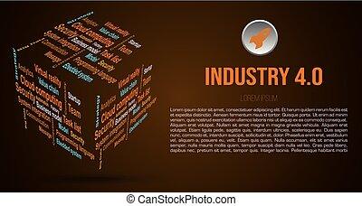 industrie- farbe, hintergrund, wolke, brauner, 3d, 4.0, über, wort, würfel, vektor, bedingungen