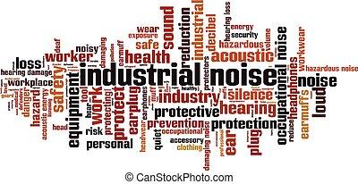 industrie, geräusch, wort, wolke
