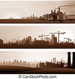Industrie-Hintergründe und städtische Landschaften