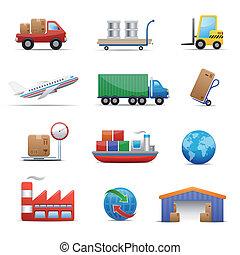 Industrie & Logistik Icon Set.