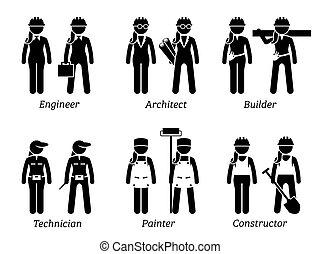 Industrie und Bau von Arbeitsplätzen, Werken und Berufen für Frauen.