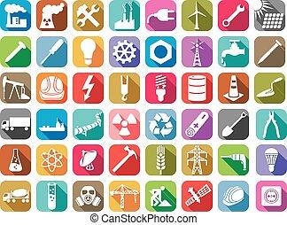 Industrie und Energie Flachbild-Icons Sammlung.