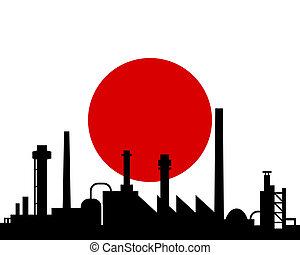 Industrie und Flagge von Japan