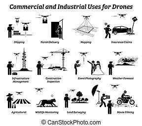 industrie, work., brauch, gewerblich, brummen, anwendungen