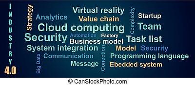 industriebereiche, stil, hintergrund, wolke, vektor, 4.0, über, wort, farbe, wohnung, blaues, bedingungen
