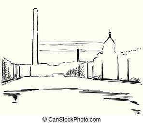 Industrielandschaft, Zeichnung für Ihr Design.
