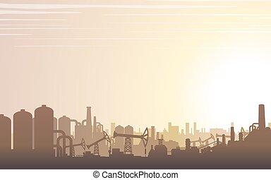 Industrielle Skyline Landschaft. Vector