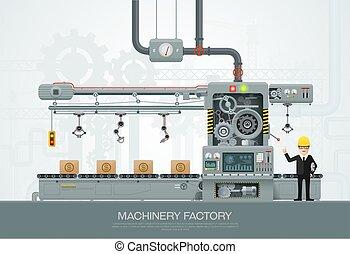 Industriemaschinen-Factory Baumaschinenbautechnik Vektorgrafik