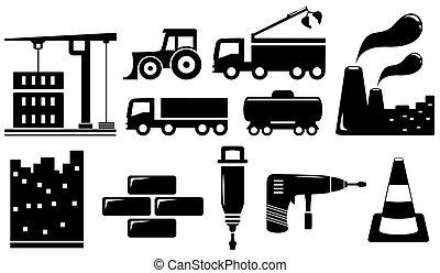 Industrieobjekte und Werkzeuge einstellen.