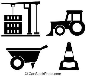 Industrieset mit Bauobjekten.