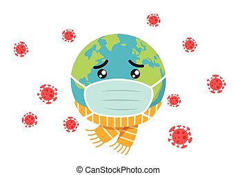 infected, erde, karikatur, maskottchen, traurige , korona, virus