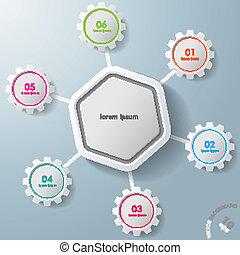 Infografische Hexagon, farbenfrohe Zahnräder