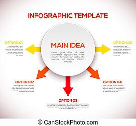 Infografische Muster mit Pfeilen und 3D-Kreis.
