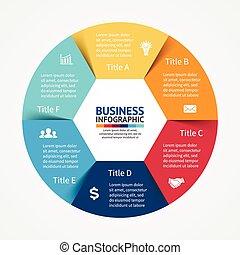 Infographic, Diagramm, 6 Schritte, Optionen