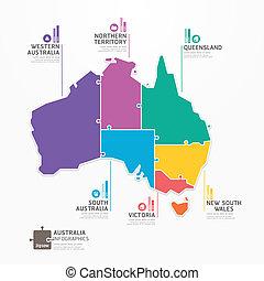 infographic, landkarte, begriff, banner., stichsaege, abbildung, australia, vektor, schablone