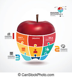 Infographic Template mit Apple Jigsaw Banner . Konzept vektorische Abbildung