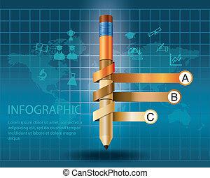 Infographic Template mit Bleistift .