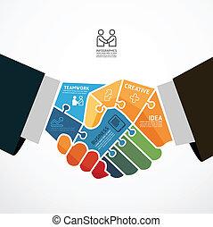 Infographic Template mit businessman handshake jigsaw Banner . Konzept vektorische Abbildung