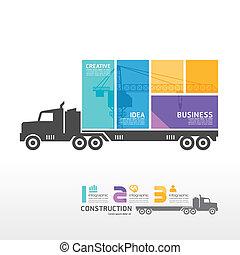 Infographic Template mit Container Truck Banner . Konzept vektorische Abbildung