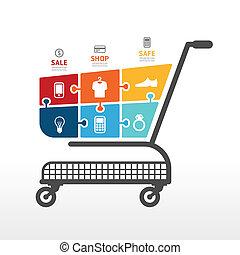 Infographic Template mit Einkaufswagen Jigsaw Banner . Konzept vektorische Abbildung