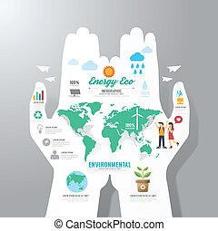 Infographic Template mit Handpapier Banner . Öko-Konzeptvektor