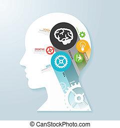 Infographic Template mit Head Paper Banner . Konzeptvektor krank