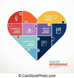 Infographic Template mit Herzform Jigsaw Banner . Konzept vektorische Abbildung