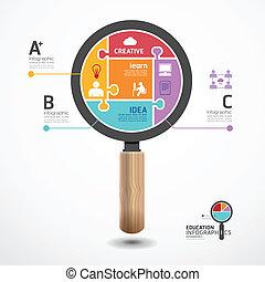 Infographic Template mit magnifier jigsaw Banner . Konzept vektorische Abbildung