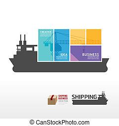 Infographic Template mit Versandschiff Banner . Konzeptvektor