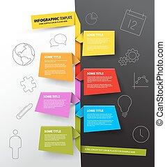 Infographic timeline Report Vorlage aus bunten Papieren.