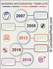 Infographic timeline Vorlage, abstrakter Vektor mit fünf Gangelementen, Icons und Kopierraum, grauer Hintergrund.