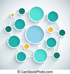 Infographics Network Flat Design Schema mit blauen, grünen und gelben Kreisen auf hellgrauen Hintergrund