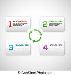 Infographics Prozess Vorlage mit einer Reihe von Zahlen. Mit Pfeilen und 3D-Boxen.