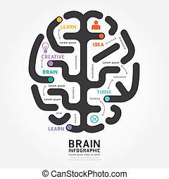 Infographics Vektor-Gehirn Design-Diagramm Linien Vorlage.