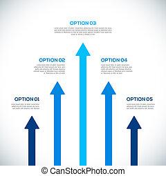 Infographics Vorlage mit Pfeilen.