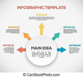 Infographics Vorlage mit Pfeilen und 3D-Kreis. Anders als infographics.
