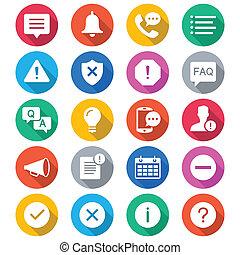 Information und Benachrichtigung Flachfarben Icons