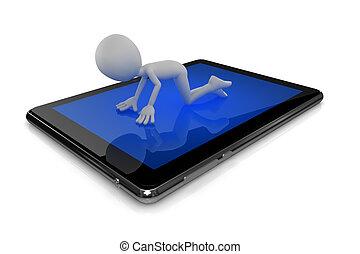 informationen, serching, tablette, mann