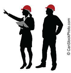 Ingenieur und Vorarbeiter arbeiten