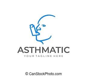 inhalationsapparat, logo, asthma, mann, sprühen, vektor, design, kopf, design.