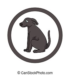 inländisch, vektor, purebred, kreis, abbildung, stammbaum, windhund, karikatur, doggie, reizend, canine., clipart., mascot., club., haustier, hundehütte, junger hund, training, parlor., freigestellt, rasse, hund